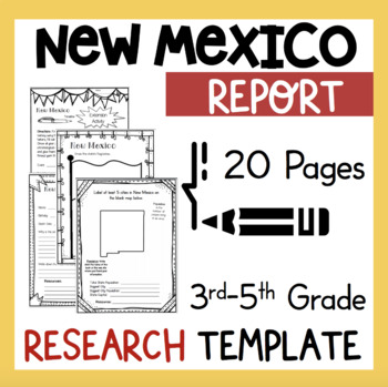 New Mexico State Research Report Project Template + bonus timeline Craftivity NM