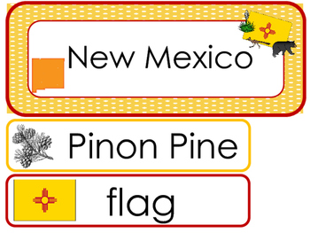 New Mexico State Word Wall Bulletin Board Set. Geography Curriculum.