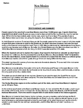 New Mexico Text Evidence and Summary Assignment