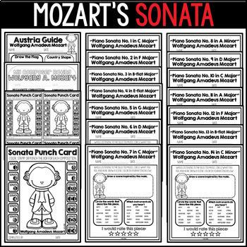 Mozart's Sonata Listening Sheets, Winter Activities, Classical Music