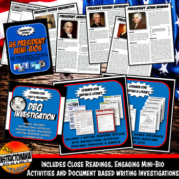 New Nation First Five Presidents Complete Unit Bundle, Activities and Notes