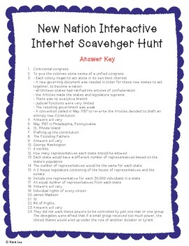 New Nation, Government, Constitution Interactive Internet Scavenger Hunt