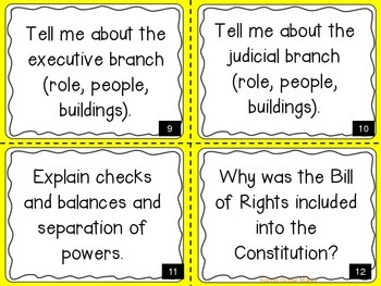 New Nation (Government) Task Cards-4th Grade