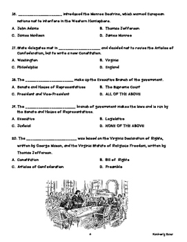 New Nation Social Studies Practice Quiz--4 pages of review!