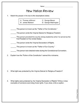 New Nation Study Guide and Review Worksheet (VS.6)