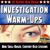 New Nation Unit Warm-Ups Skill Based, Mini Lessons, Bell Ringer Activities