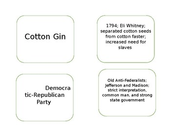 New Nation Vocab Cards