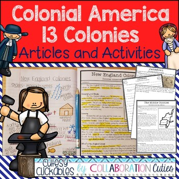 13 Colonies Nonfiction Articles with Activities for Notebooks