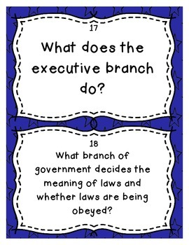 New Nation and United States Government Review Task Cards - Set of 32