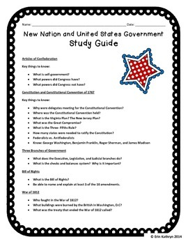 New Nation and United States Government Study Guide and Test
