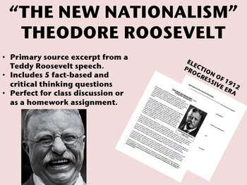 """New Nationalism"" - Theodore Roosevelt - Progressive Era -"