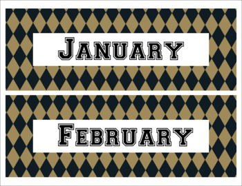 New Orleans Saints Inspired Black and Gold Calendar Pieces Diamond Shaped