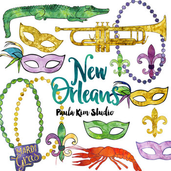 new orleans watercolor clip art by paula kim studio tpt rh teacherspayteachers com new clipart software news clip art images