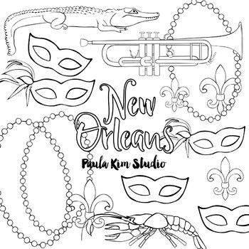 New Orleans Watercolor Clip Art By Paula Kim Studio
