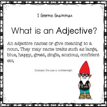 I Gnome Nouns Verbs and Adjectives Grammar English Language Arts