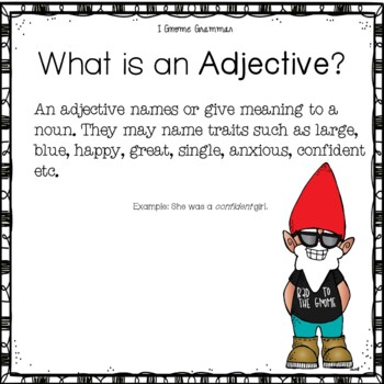 I Gnome Nouns Verbs and Adjectives Grammar