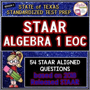 New Release STAAR ALGEBRA 1 EOC Review TEST PREP Version 3