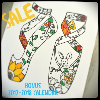 New Release Sale for $5  Ballerina Slippers Coloring Page with bonus calendar