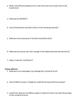 New Republic Review Sheet (First Five Presidents)