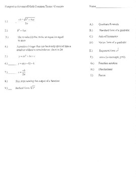 New SAT math vocabulary practice matching 4 sections