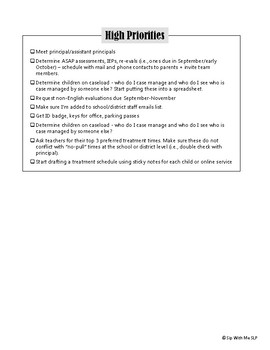 New School To-Do List for SLPs