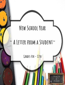 New School Year ~ A Letter from a Student ~