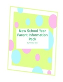 New School Year - Beginning of the Year Information Pack