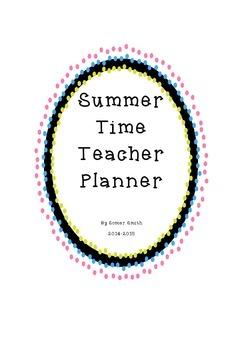 Summer Teacher Planner for 2014-2015 School Year