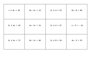 New Seats Activity (or Partner Pairings) Two-Step Equations