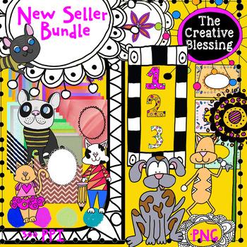New Seller Clip Art Bundle Set :  Clip Art, Digital Papers, Digital Frames