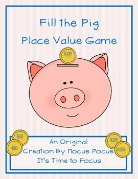 New Series Fill the Pig Place Value Game Original 3rd-4th-