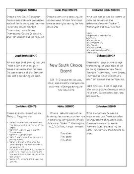 New South Choice Board (SS8H7)