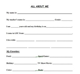 New Student Information Sheet