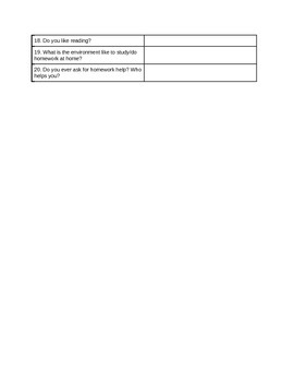 New Student Questionnaire