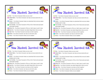 New Student Survival Kit List for Meet the School Counselor