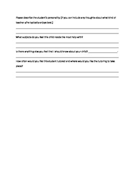 New Student Tutoring Intake Form