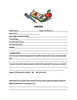 New Student Tutoring Intake Form