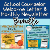 Counseling Welcome Letters & Monthly School Counselor Newsletter Template BUNDLE