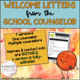 New Student Welcome Letter from the School Counselor