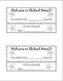 New Student Welcome Printable