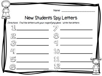 New Students Spy Letters:  NO PREP Back to School Themed I Spy Game