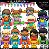 New Superhero Kids Clip Art & B&W Set