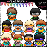 New Superhero Topper Kids Clip Art - Toppers Clip Art & B&W Set