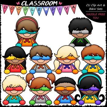 New Superhero Topper Kids Clip Art - Toppers Clip Art & B&W Set