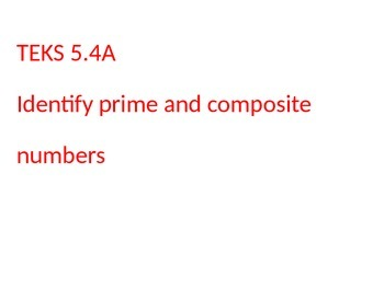 New Math TEKS 5.4A Prime and Composite Vocabulary and Word Wall Cards