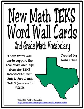 New TEKS Word Wall Cards: 2nd Grade Units 1-3