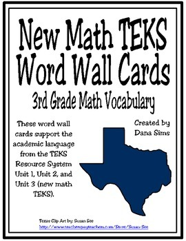 New TEKS Word Wall Cards: 3rd Grade Units 1-3