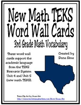 New TEKS Word Wall Cards: 3rd Grade Units 4-5