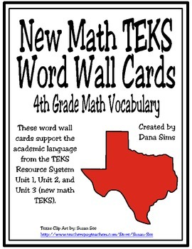 New TEKS Word Wall Cards: 4th Grade Units 1-5
