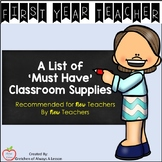 New Teacher Classroom Supply List